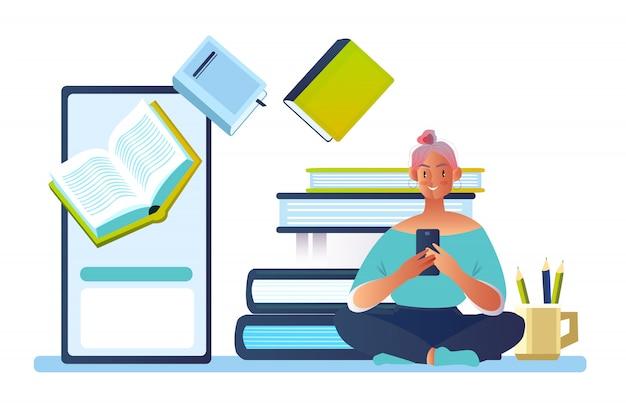 Концепция с молодой женский персонаж, чтение электронных книг на экране смартфона. Premium векторы