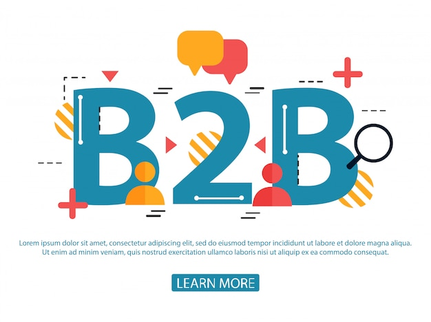 Concept of word b2b. business to business. illustration concept for website Premium Vector