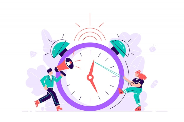 The concept of working time management Premium Vector
