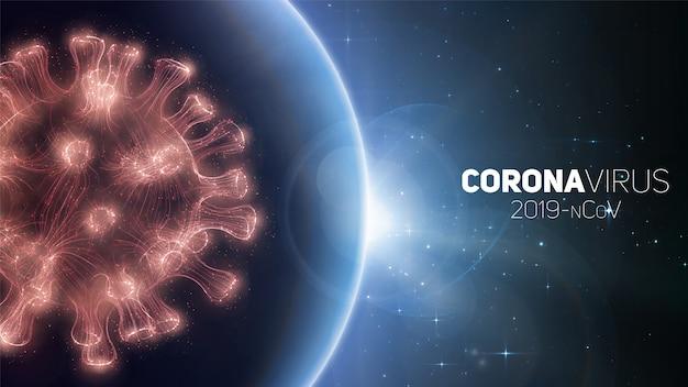 Concetto di pandemia di coronavirus in tutto il mondo. avviso di epidemia globale di virus. struttura del virus su uno sfondo di pianeta terra con stelle. infectione internazionale. illustrazione. Vettore gratuito