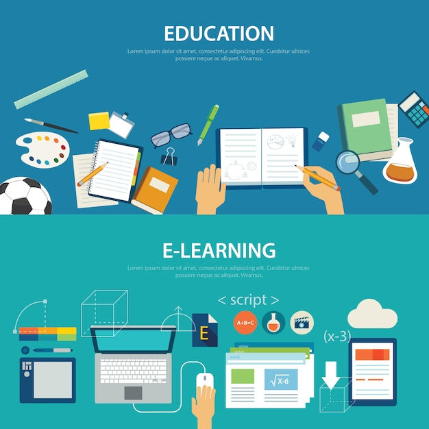 Concepts of education and e-learning flat design Premium Vector