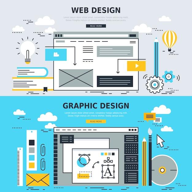 Webデザインとグラフィックデザインの概念 Premiumベクター