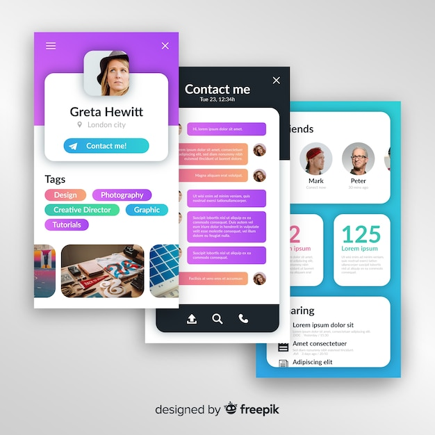 Concepts for mobile app Free Vector