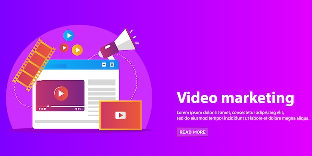 Concepts for video marketing, advertising, social media, web and mobile apps and services, e-commerce, seo. Premium Vector