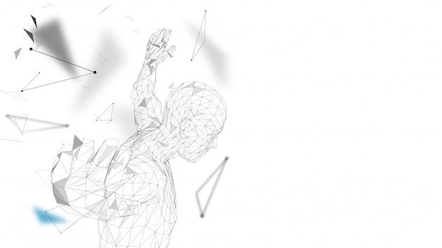 Концептуальный абстрактный человек готовится прыгать иллюстрации Premium векторы