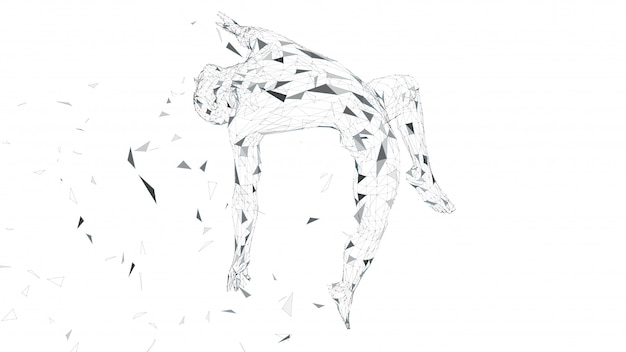 Conceptual abstract man is soaring in air. connected lines, dots, triangles Premium Vector