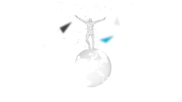 Conceptual abstract man with world globe. connected lines, dots, triangles, particles. artificial intelligence concept. high technology vector Premium Vector