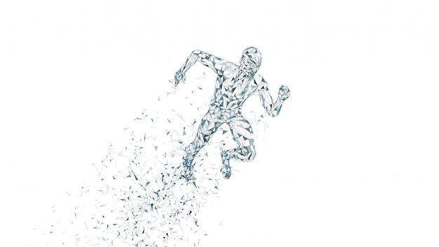 Conceptual abstract running man Premium Vector