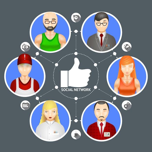 6人のアバターがいるソーシャルネットワークの人々の多様性を示す概念図 無料ベクター