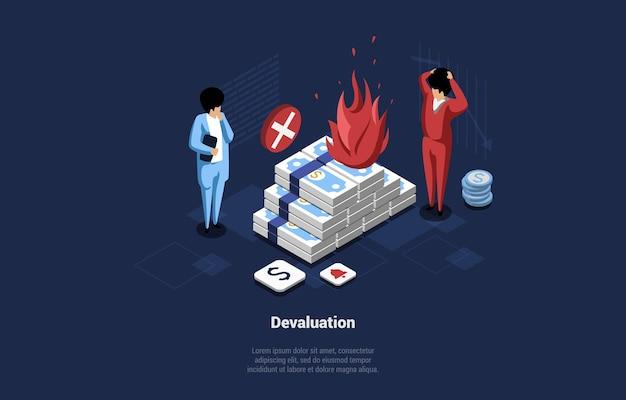 Концептуальные векторные иллюстрации идеи девальвации денег. изометрические 3d композиции в мультяшном стиле с изометрией и двумя персонажами мужского пола, стоящими возле горящей кучи банкнот. финансовый кризис. Premium векторы