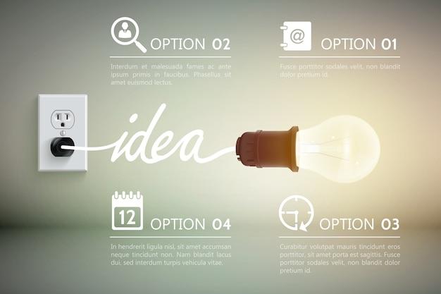 単語のアイデアと装飾的な標識のイラストが電源ソケットに接続されている白熱灯の概念 無料ベクター