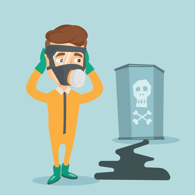 Concerned man in radiation protective suit. Premium Vector