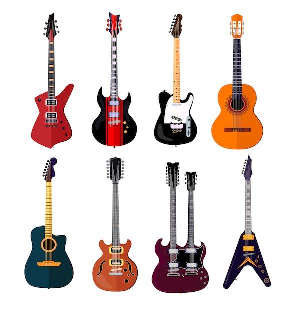 Концертный гитарный набор Бесплатные векторы