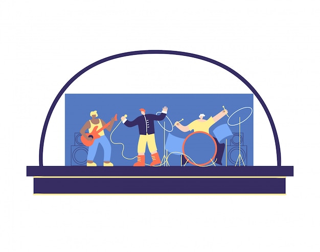 Concert of multi ethnic musical band stage vector Premium Vector