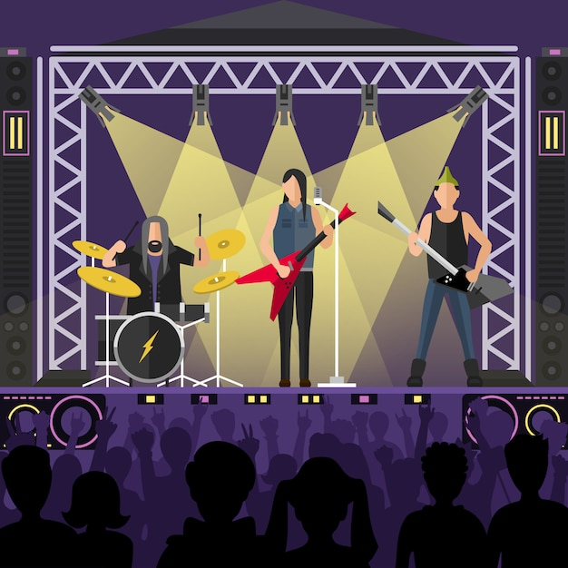 Concert pop group artists on scene Premium Vector