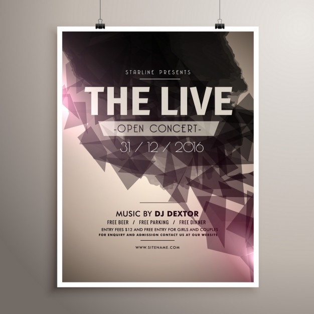 Concert Poster Of Geometric Shapes Free Vector