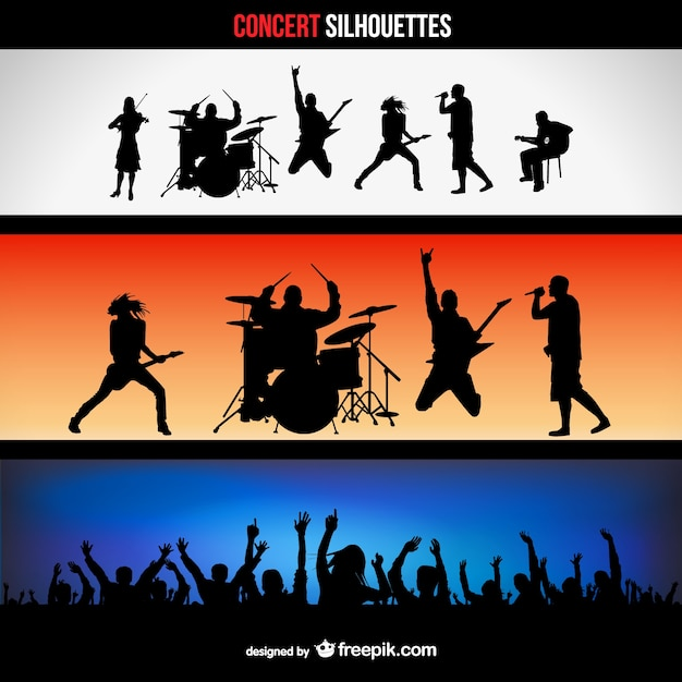 Concert silhouettes banners set Free Vector