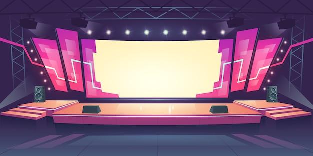 Концертная сцена с экраном и прожекторами Бесплатные векторы