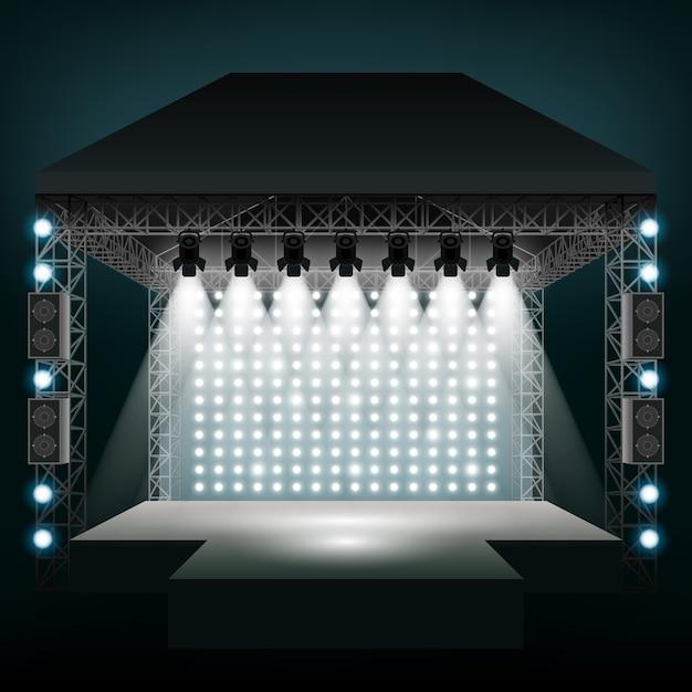 Концертная сцена с прожекторами. шоу и сцена, развлекательная дискотека. Бесплатные векторы