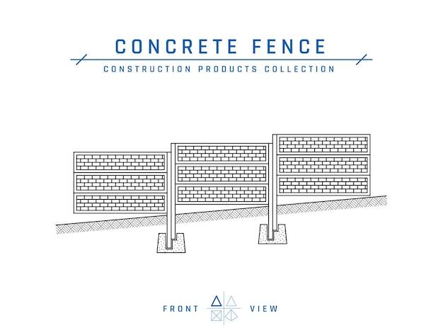 콘크리트 울타리 도면, 정면도. 프리미엄 벡터