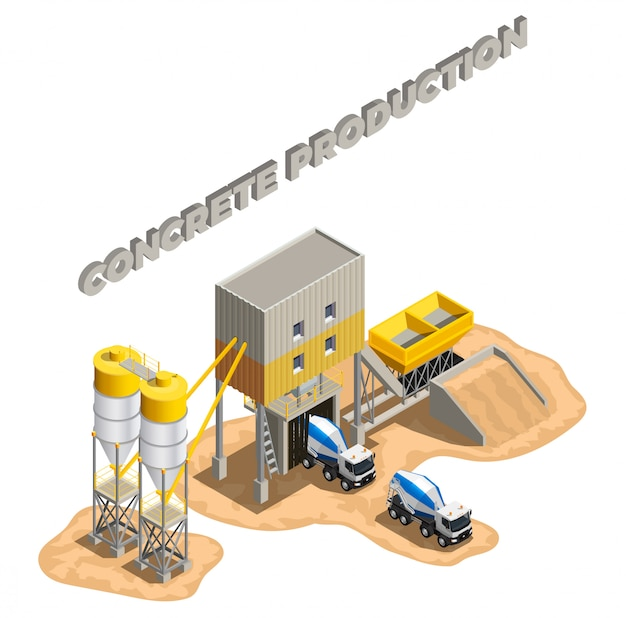 Concrete production isometric composition with editable text and factory buildings cement mixing plant facilities with conveyors Free Vector