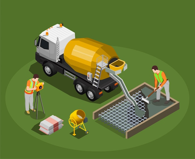 Concrete production isometric composition with mixing drum and cement mixer machine with human characters of workers Free Vector