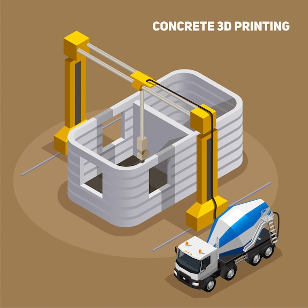 Concrete production isometric composition with view of 3d printed building under construction with cement mixing truck Free Vector
