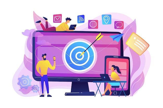 Concumers with devices get targeted ads and messages. multi device targeting, reaching audience, cross-device marketing concept on white background. bright vibrant violet isolated illustration Free Vector