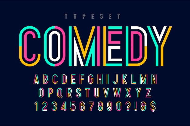 Condensed colorful display font design, alphabet and numbers. Premium Vector