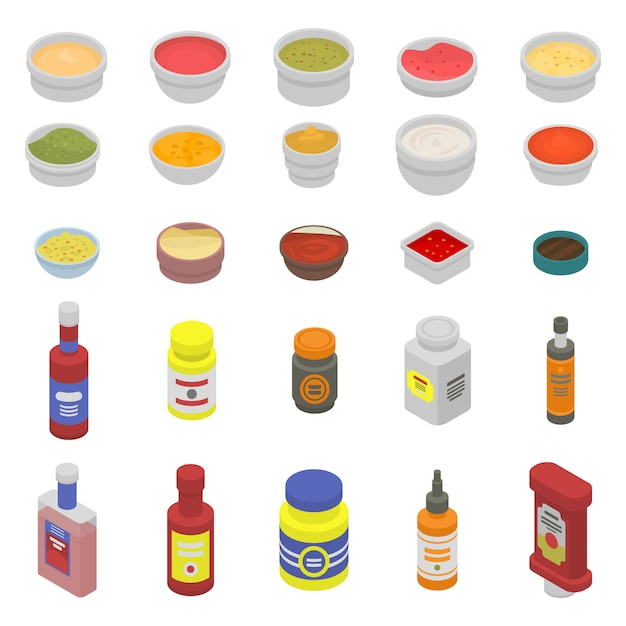 Condiment icons set Premium Vector