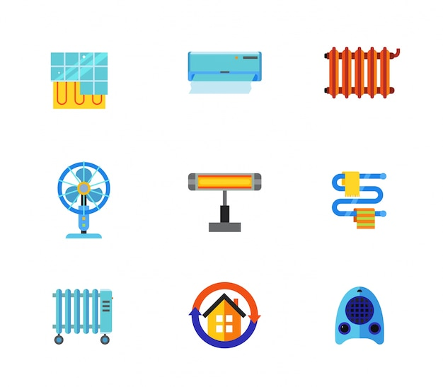 Conditioning icons collection Free Vector