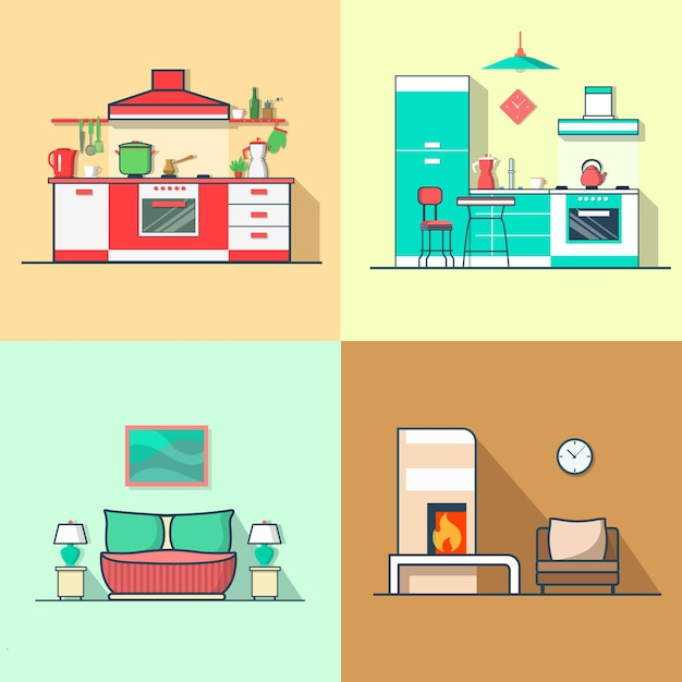Condo accommodation kitchen bedroom living room interior indoor set. Free Vector