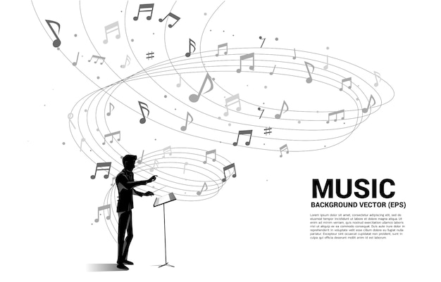 지휘자와 음악 멜로디 노트 댄스 흐름. 노래와 콘서트 테마에 대한 개념 배경입니다. 프리미엄 벡터