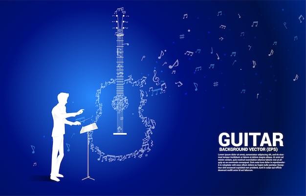 지휘자와 음악 멜로디 노트 춤 흐름 모양 기타 아이콘. 노래 및 기타 콘서트 테마에 대한 개념 배경입니다. 프리미엄 벡터