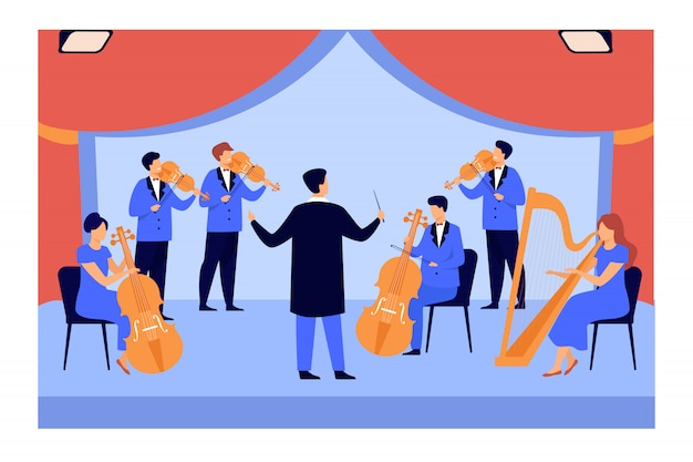 Conductor and musicians playing on violin, harp and cello Free Vector