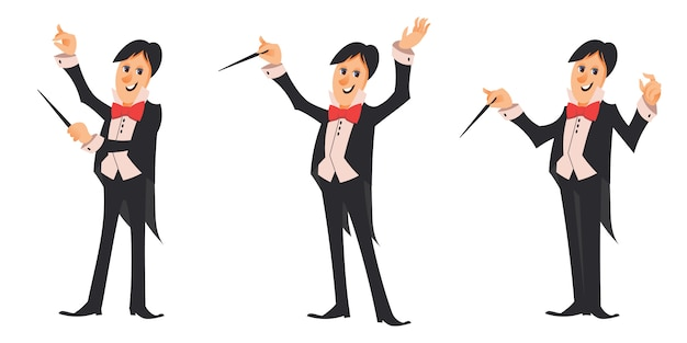 Conductor of orchestra in different poses. male character in cartoon style. Premium Vector