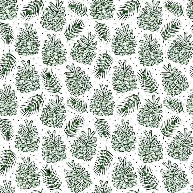 Cone with spruce branch pine tree element seamless pattern Premium Vector