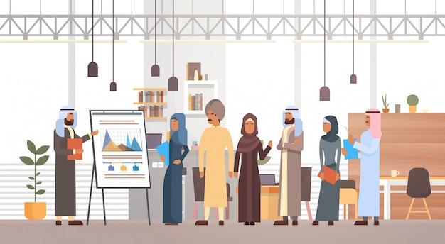 Представление группы арабских деловых людей флип-чарт финансы, арабские бизнесмены командный тренинг conf Premium векторы