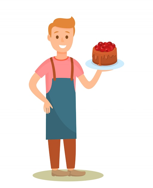 Confectioner holding tasty cake cartoon character Premium Vector