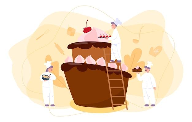 お菓子屋さん。プロの菓子職人。休日の甘いパン屋の料理パイ、カップケーキ、チョコレートブラウニー。孤立したフラットベクトル図 Premiumベクター