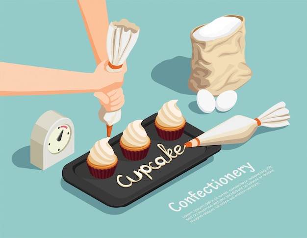 Confectionery chef isometric concept Free Vector