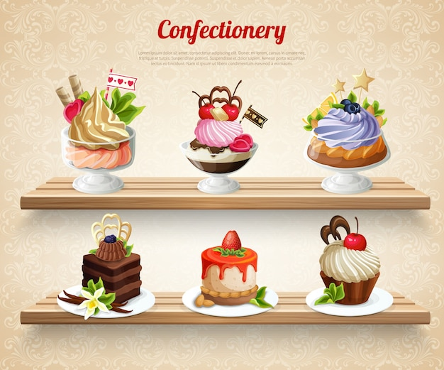 Confectionery colorful illustration Free Vector