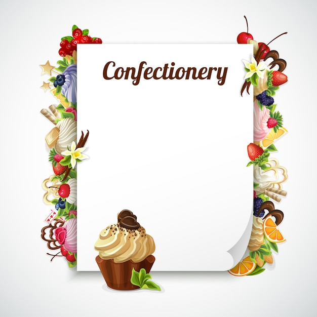 Confectionery decorative frame Free Vector