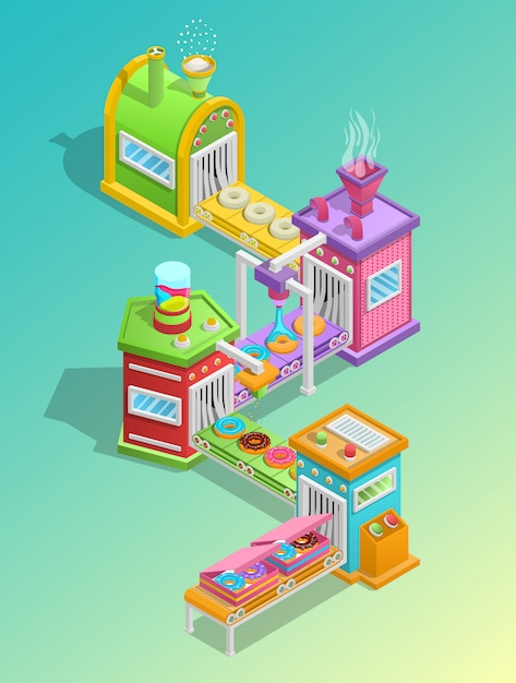 Confectionery factory concept Free Vector