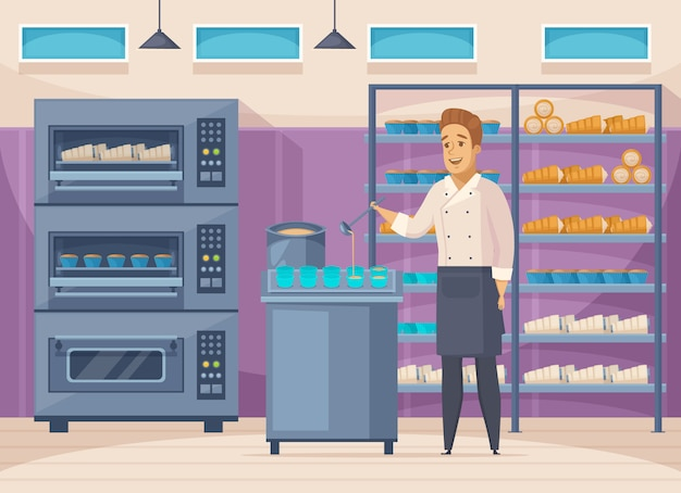 Confectionery factory Free Vector