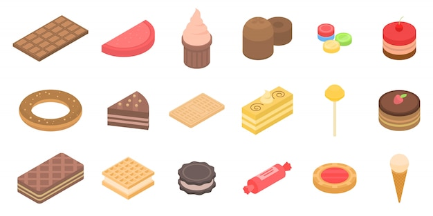 Confectionery icons set, isometric style Premium Vector