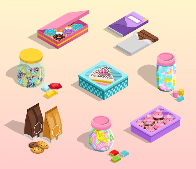 Confectionery packaging set Free Vector