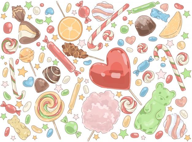 Confectionery product lollipops set Premium Vector