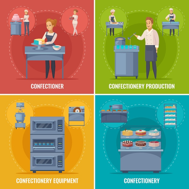 Confectionery production scenes Free Vector