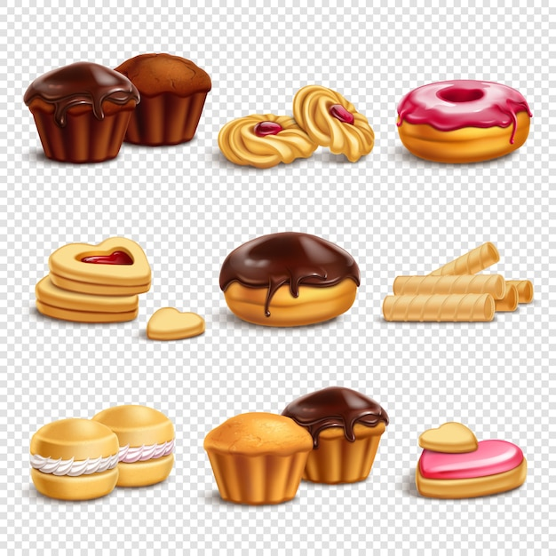 Confectionery products icons collection Free Vector